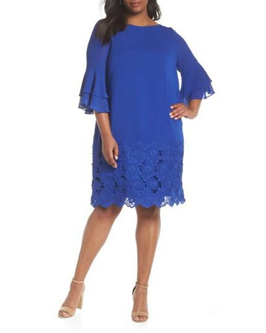 Tahari - Blue Embroidered Ruffle Sleeve Shift Dress - Lyst