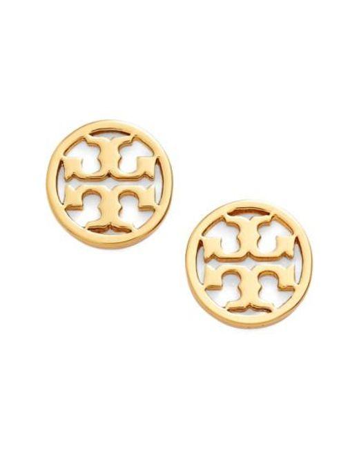 Tory Burch   Metallic Circle Logo Stud Earrings   Lyst