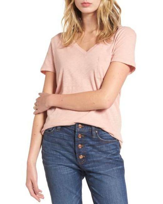 Madewell | Pink 'whisper' Cotton V-neck Pocket Tee | Lyst
