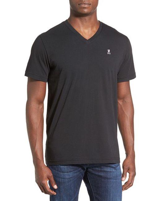 Psycho Bunny | Black Pima Cotton V-neck T-shirt for Men | Lyst