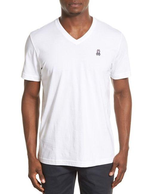 Psycho Bunny | White Classic Pima Cotton V-neck T-shirt for Men | Lyst