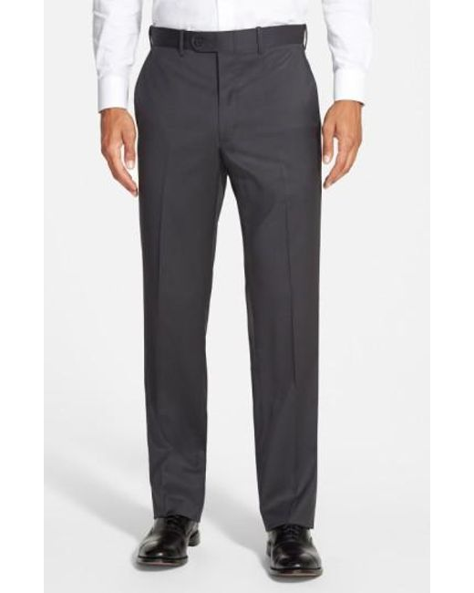 JB Britches - Gray 'torino' Flat Front Wool Trousers for Men - Lyst