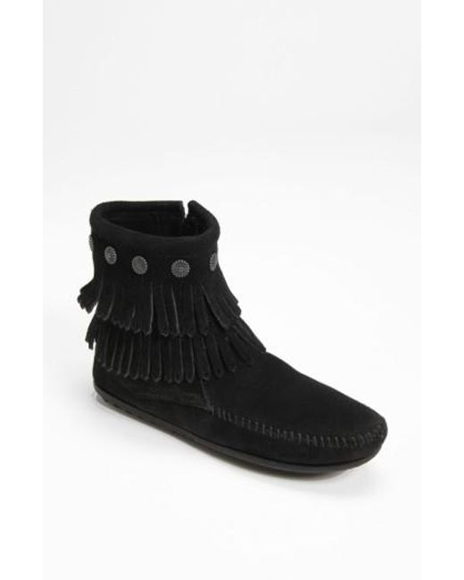 Minnetonka   Black Double Fringe Boot   Lyst