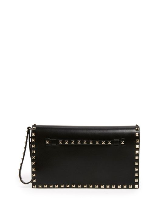 Valentino - Natural Rockstud Leather Flap Clutch - Lyst