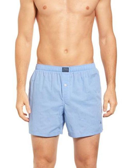 Polo Ralph Lauren - Blue Woven Boxer Shorts for Men - Lyst