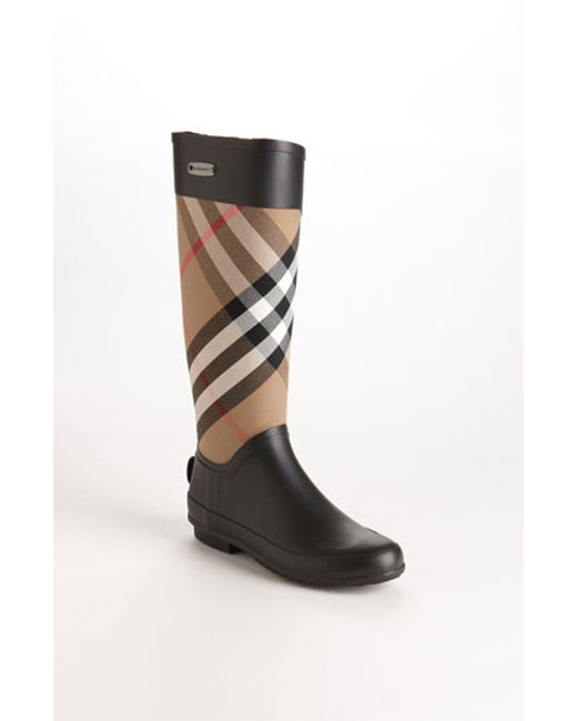 Burberry | Black Clemence Check Rubber Boots | Lyst