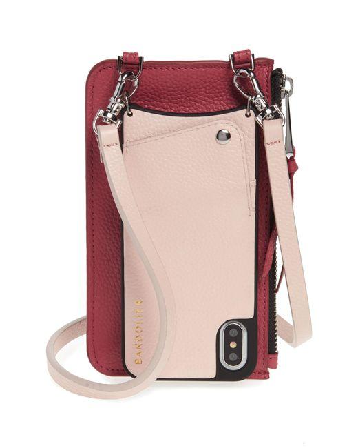 Bandolier - Pink Emma Leather Iphone X/xs Crossbody Case - Lyst