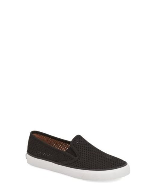 Sperry Top-Sider | Black 'seaside' Perforated Slip-on Sneaker | Lyst