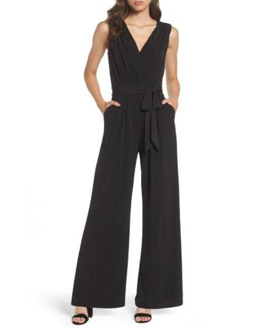 Vince Camuto - Black Faux Wrap Jersey Jumpsuit - Lyst