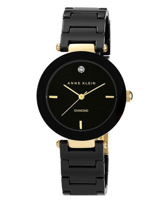 Anne Klein | Black Round Ceramic Bracelet Watch | Lyst