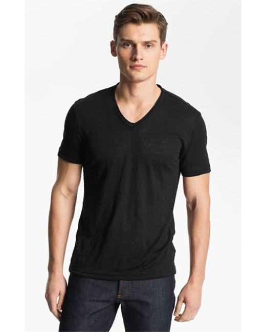 John Varvatos | Black V-neck Linen T-shirt for Men | Lyst