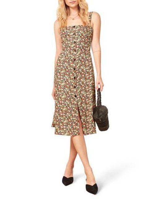 5e7010464ff Reformation - Multicolor Persimmon Floral Midi A-line Dress - Lyst