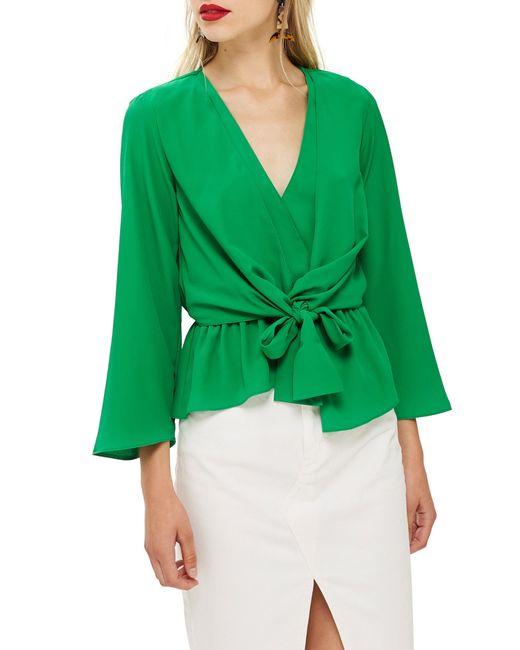 TOPSHOP - Green Tiffany Asymmetrical Blouse - Lyst
