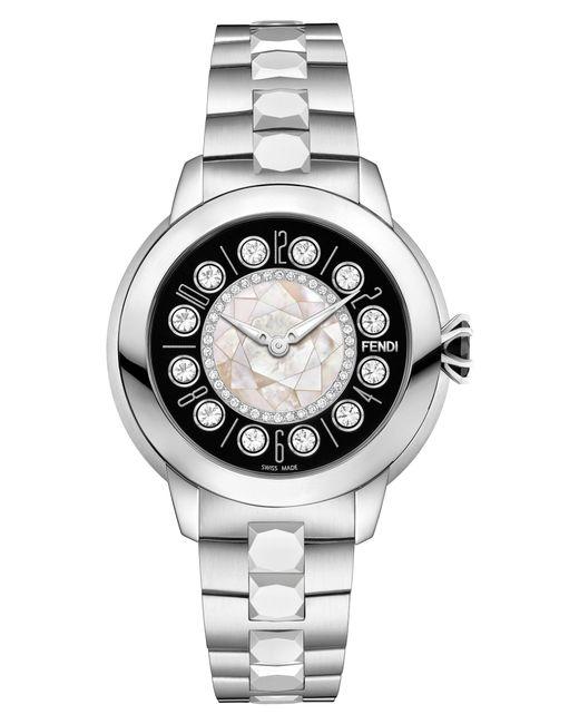 Fendi - Metallic Ishine Diamond Bezel Rotating Bracelet Watch - Lyst