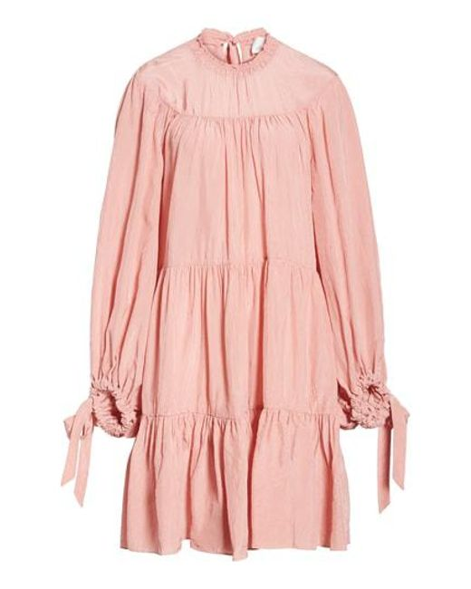 3.1 Phillip Lim - Pink Puff Sleeve Tiered Dress - Lyst