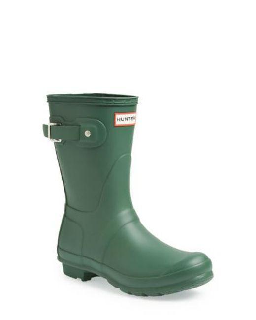 Hunter | Green 'original Short' Rain Boot | Lyst