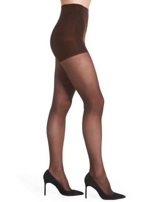 DKNY   Brown Light Opaque Control Top Tights   Lyst