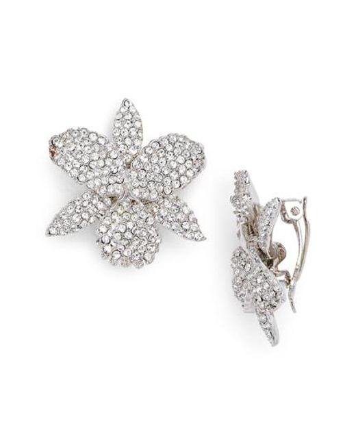 Nina - Metallic Pave Swarovski Crystal Orchid Clip Earrings - Lyst