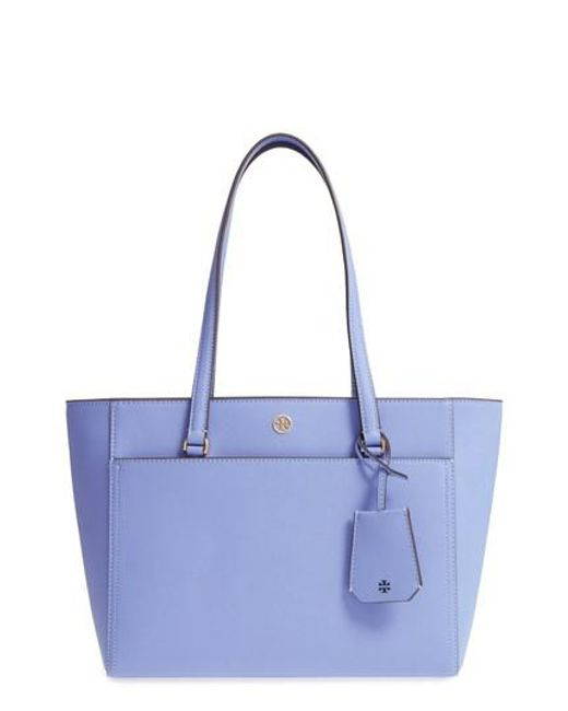Tory Burch - Blue Small Robinson Leather Tote - Lyst