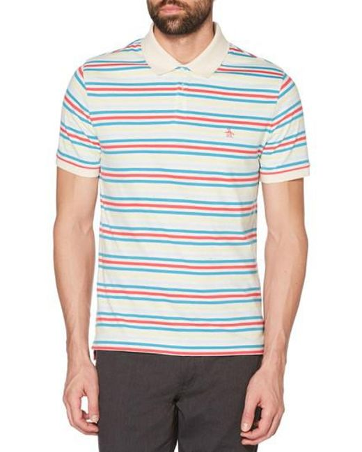 Original Penguin - White Stripe Polo for Men - Lyst