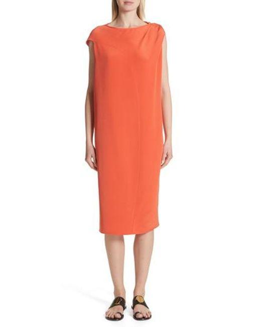 Zero + Maria Cornejo - Orange Twist Detail Silk Dress - Lyst