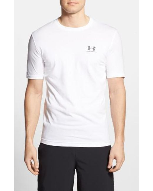 Under Armour | White 'sportstyle' Charged Cotton Loose Fit Logo T-shirt for Men | Lyst