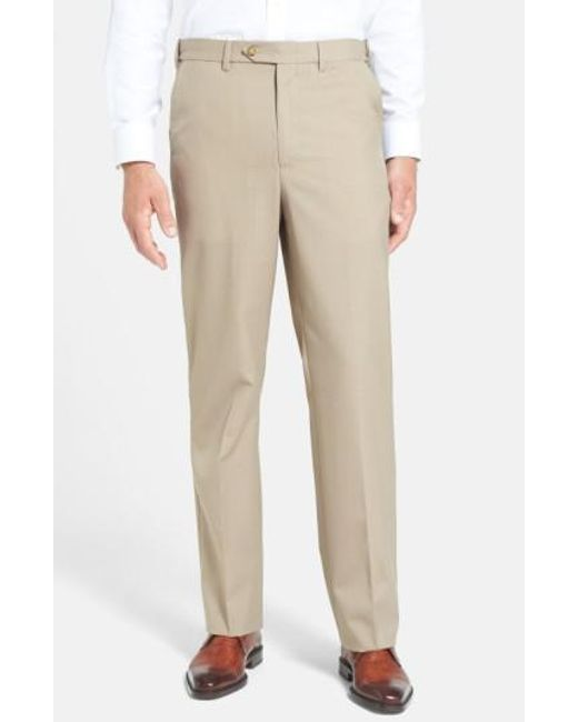 Berle | Brown Self Sizer Waist Tropical Weight Flat Front Trousers for Men | Lyst
