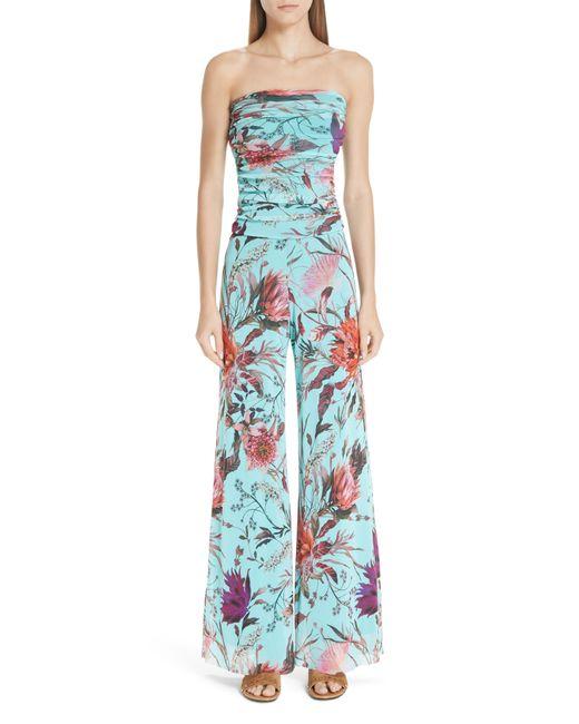 Fuzzi - Blue Floral Tulle Strapless Jumpsuit - Lyst