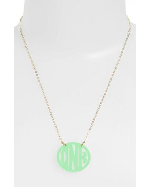 Moon & Lola | Green Small Personalized Monogram Pendant Necklace (nordstrom Exclusive) | Lyst