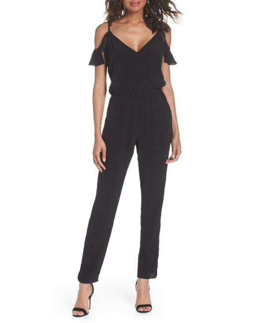 75a28c34750 Lyst - Fraiche By J Ruffle Cold Shoulder Jumpsuit in Black
