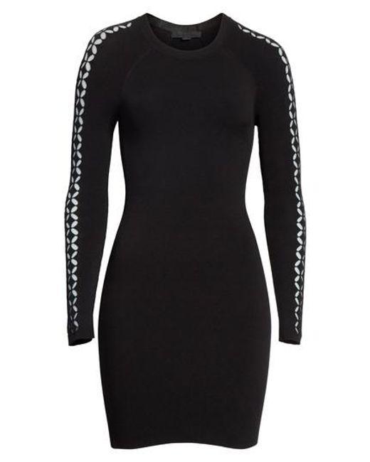 Alexander Wang - Black Open Knit Sleeve Dress - Lyst