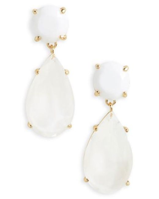 Kate Spade | White Here Comes The Sun Drop Earrings | Lyst