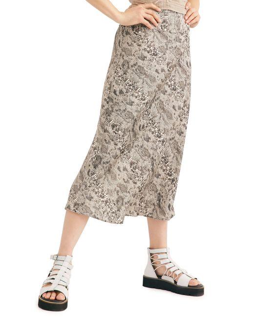 Free People Gray Normani Leopard Print Bias Cut Midi Skirt