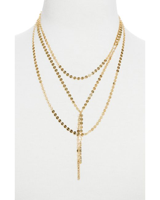 BaubleBar - Metallic Amber Layered Chain Y-necklace - Lyst