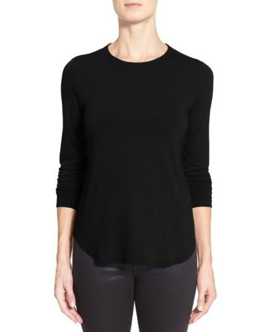 Eileen Fisher | Black Crewneck Top | Lyst