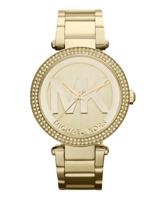 Michael Kors | Metallic Parker Logo Dial Bracelet Watch | Lyst