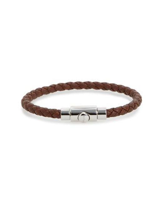 Ferragamo | Brown Braided Leather Bracelet for Men | Lyst