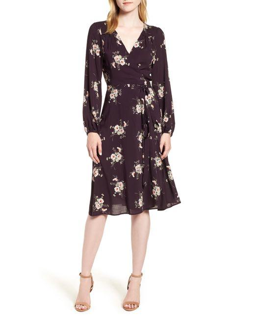 Velvet By Graham & Spencer - Black Floral Wrap Dress - Lyst