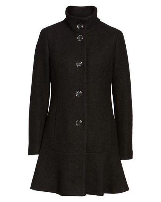 Kensie | Black Single Breasted Ruffle Hem Coat | Lyst