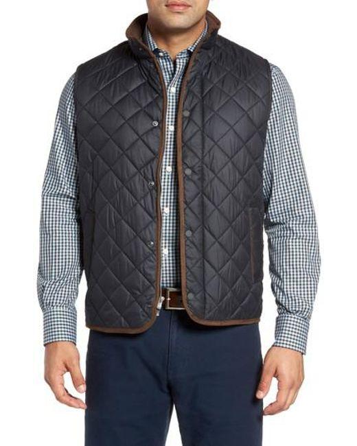 Peter Millar Essex Quilted Vest In Black For Men Lyst