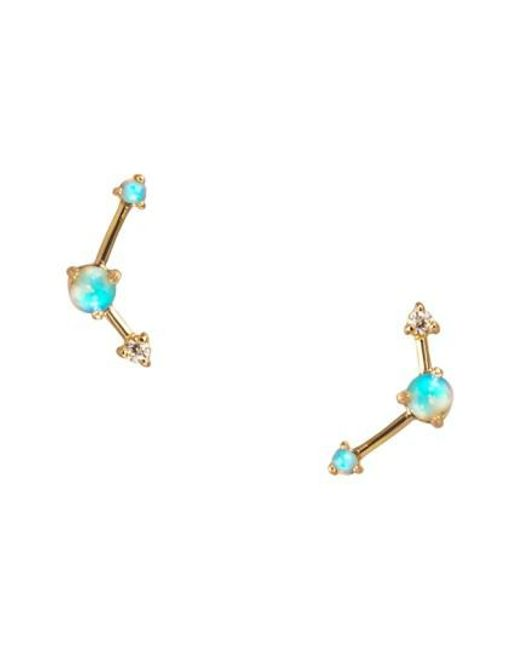 Wwake - Metallic Counting Collection Three-step Opal & Diamond Point Earrings - Lyst