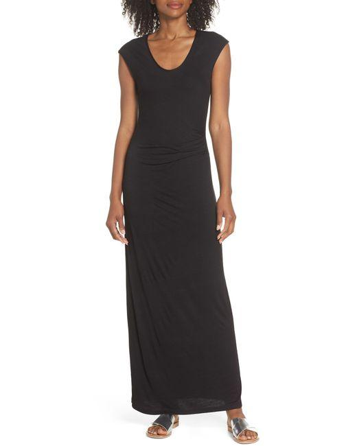 Fraiche By J - Black Ruched Jersey Maxi Dress - Lyst