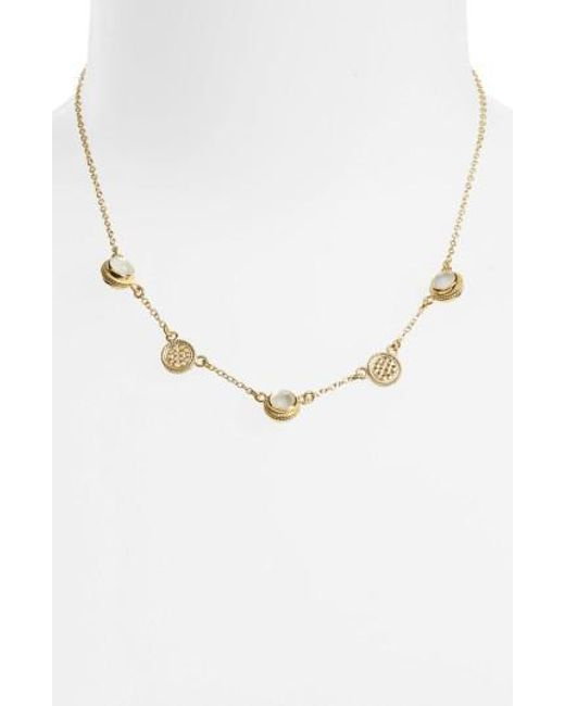 Anna Beck - Metallic Semiprecious Stone Station Necklace - Lyst