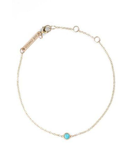 Zoe Chicco | Metallic Turquoise Bezel Line Bracelet | Lyst