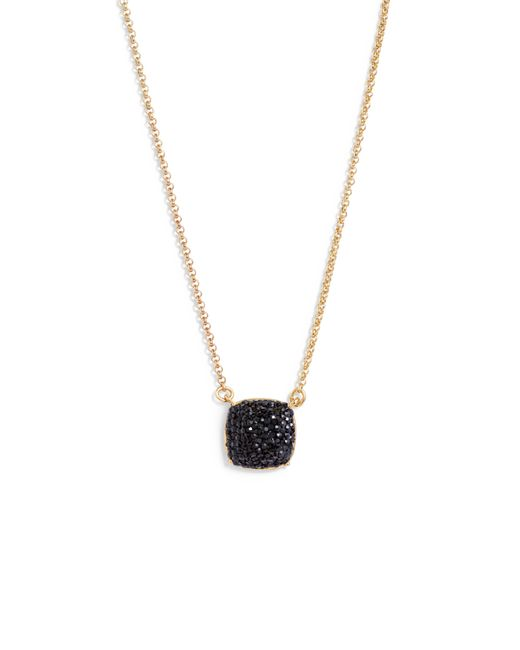 Kate Spade - Metallic Small Square Pave Pendant Necklace - Lyst