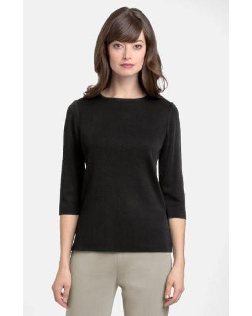 Ming Wang - Black Three Quarter Sleeve Crewneck Knit Shell - Lyst