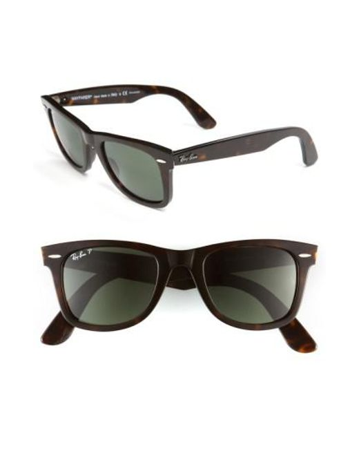 Ray-Ban | Black Standard Classic Wayfarer 50mm Polarized Sunglasses | Lyst