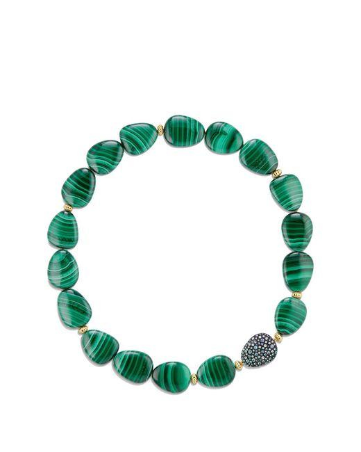 David Yurman - Green 'bead & Chain' Short Necklace With Jasper & Sapphires In 18k Gold - Lyst