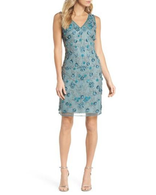 Pisarro Nights - Blue 3d Floral Embellished Sheath Dress - Lyst