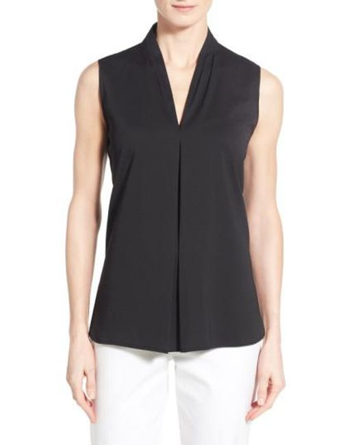 Ming Wang - Black V-neck Sleeveless Top - Lyst